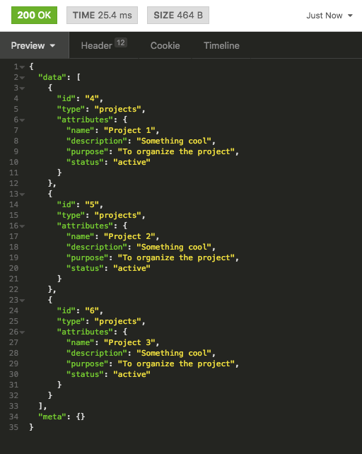 projects response json